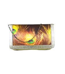 Buy Digital Mor Pankh Clutch (Gold) clutch online