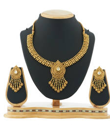 Buy Traditional & Antique Gold plated Necklace With Earring Fashion Jewellery necklace-set online