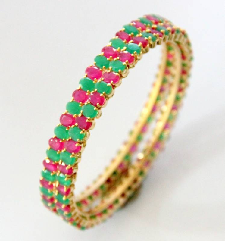 Buy Red N Green Stone Studded Bangle Online