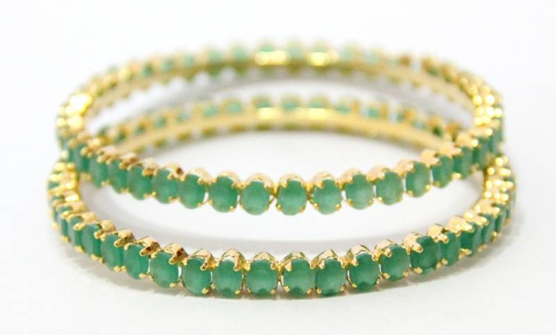 emerald traditional stone green semi size stones gold precious jewellery design img bangles plated