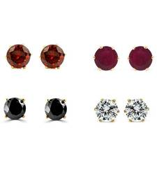 Buy Multi Color Gold Plated Combo of Solataire Stud Earring combo-earring online