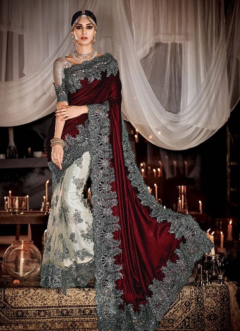 Buy Maroon Embroidered Net And Velvet Pallu Saree With