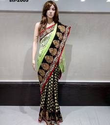 Buy Green Embroidered Georgette Viscos butti work Broad Lace Border Half N Half Saree with Blouse south-indian-saree online