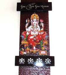 Decorative key holder with god photo shree ganesh