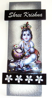 Wooden key holder with god photo Bal Gopal