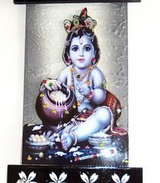 Buy Wooden key holder with god photo Bal Gopal wall-art online