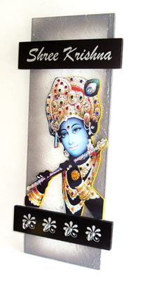 Key holder decorative and wooden and handcrafted with god photo shree krishna