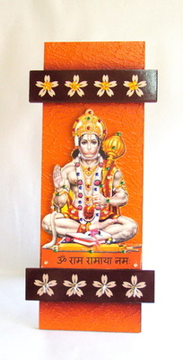 Key holder decorative and wooden and handcrafted with god photo hanumanji
