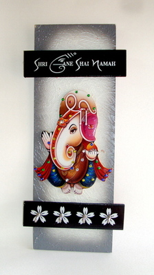 Key holder decorative and wooden and handcrafted with god photo shree ganesh