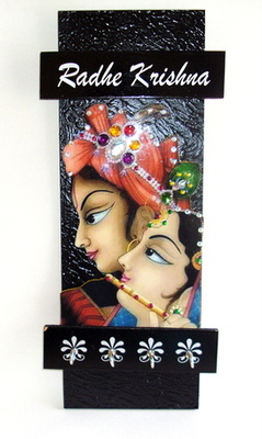 Key holder decorative and wooden and handcrafted with god photo radhe krishna