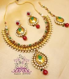 Buy Antique Multicolour Polki Necklace Necklace online