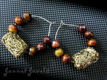 Brown Onyx & Golden Tube Earrings