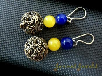 Stunning Blue Yellow-Golden Earrings
