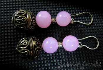 Rose Earrings with Golden ball