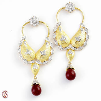 Captivating Earrings set with Red Onyx