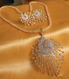 Buy GORGEOUS ROYAL CZ PEACOCK PENDANT SET WITH ZIRCON STONES FILLED CHAIN-DJ00563 diwali-jewellery online