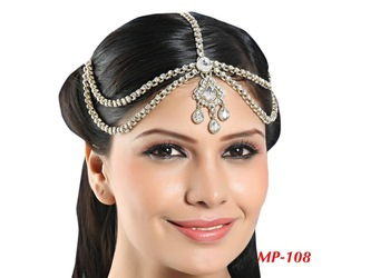 Fashionable Designer Matha Patti For Wedding Gold Finishing With Pearl And Stone In White