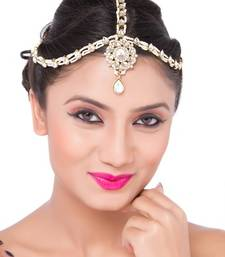 Buy Exclusive Design Matha Patti For Wedding Gold Finishing with Pearl and Stone in White hair-accessory online