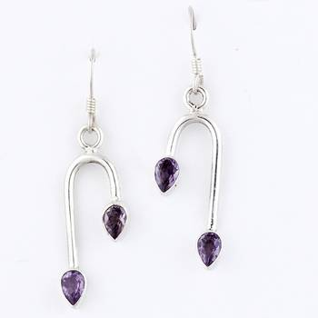 Stylo Pair Of Silver Earrings With Amethyst_28