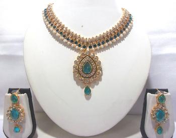 Sky Blue pearl Dulhan Necklace Set
