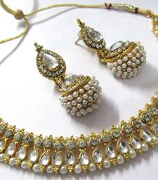 Buy White pearl gota necklace set hot-deal online