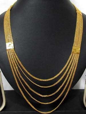 Five line Golden chain long necklace