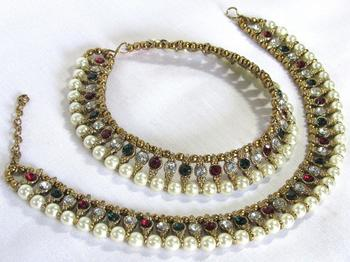Golden and Pearl Multi Color Anklet
