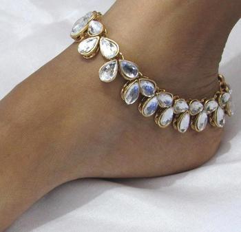 Fully White kundan anklet