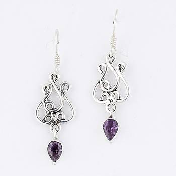 Seductive Handcrafted Pair Of Silver Earrings With Amethyst_31