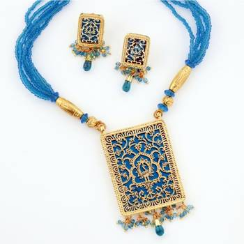 Traditional Ethnick Handcrafted Thewa Set With Gold Work (Turquoise)