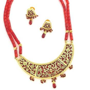 Gold Work Traditional Thewa Set(Red)-02