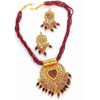 Gold Work Traditional Thewa Set With Kundan Work(Maroon)