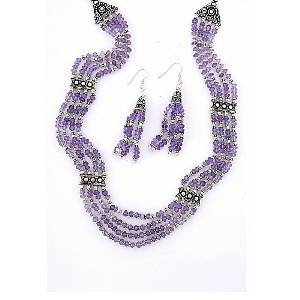 Traditionally Handcrafted Silver Necklace Set With Well Cut Faceted Amethyst And Pair Of Earrings -02