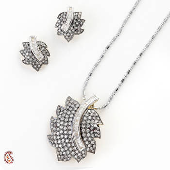 Oxidized Pendant Set with admirable CZ