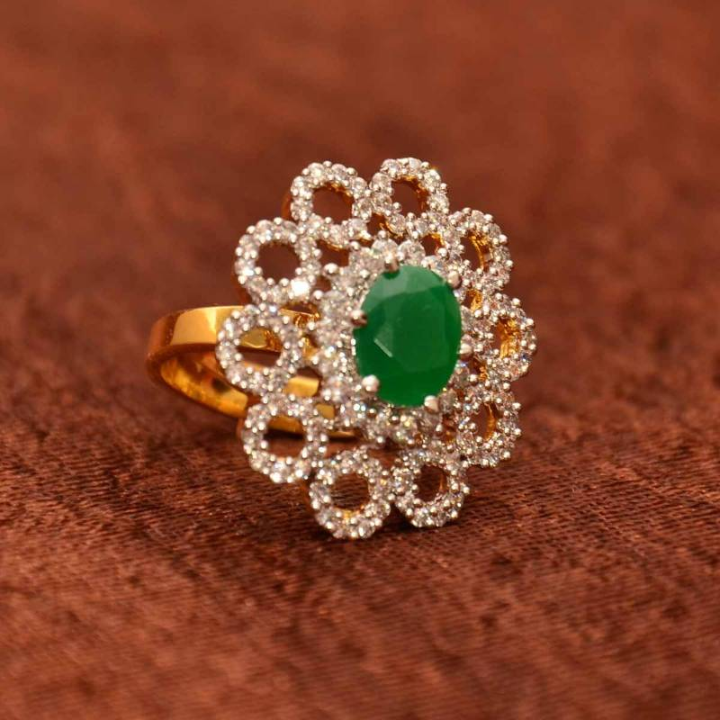 Buy Avni\'s floral design adjustable cz finger ring with emerald Online