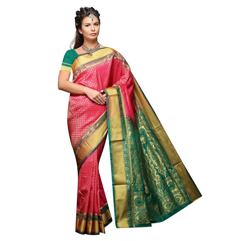 Buy Peach Woven Art Silk Paithani Saree With Blouse Online