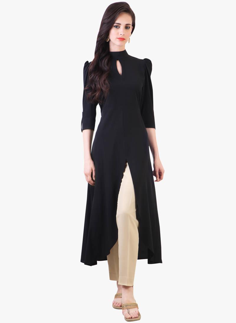 Buy Black Cotton Plain Kurti Online