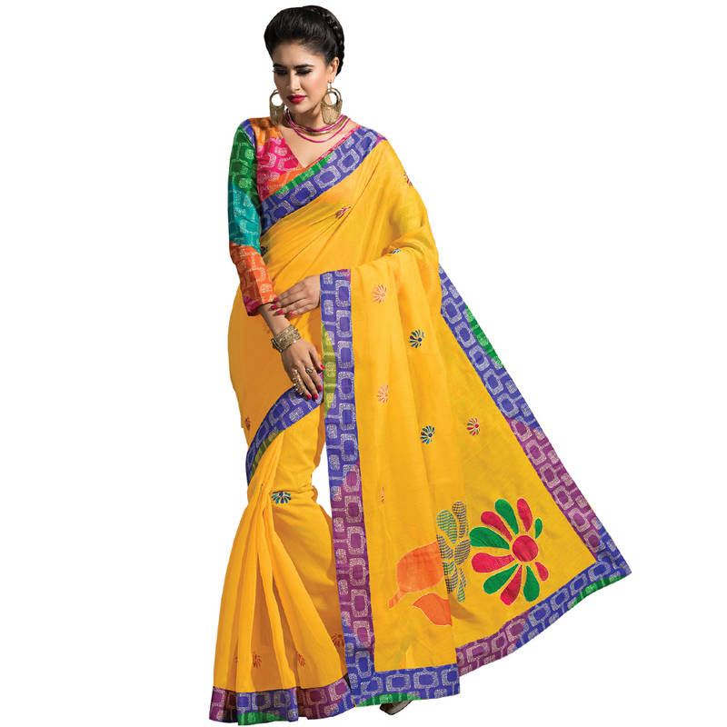 Buy Yellow Embroidered Cotton Saree With Blouse Online