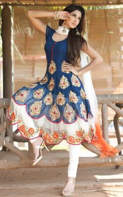 Blue georgette embroidered semi stitiched salwar with dupatta