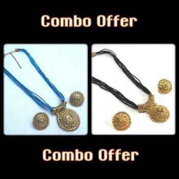 Blue and Black Thread Necklace Set offer