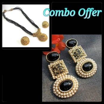 Black Kundan Earring with Thread Necklace Set Offer
