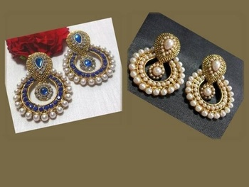 Combo Offer Blue & Pearl Polki Earrings