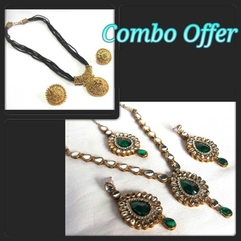 Green Kundan Necklace Set with Thread Necklace Set Offer