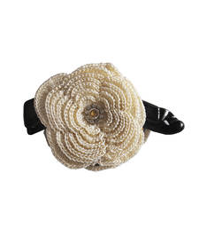 Buy Cream Big Banana Hair Clip with Two seven Layer Crochet Motif hair-accessory online