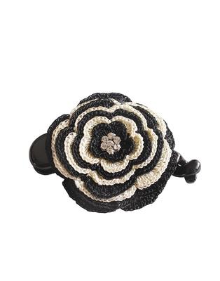 Black White Big Banana Hair Clip with Two seven Layer Crochet Motif