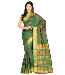 Buy Green printed faux jacquard saree with blouse jacquard-saree online