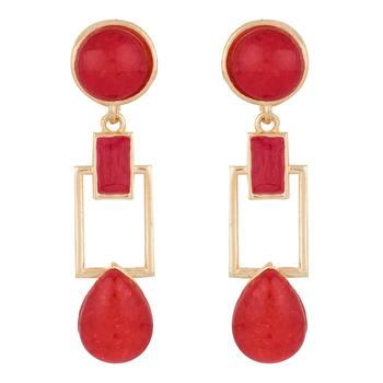 Squarish Crown Hot Red Earrings