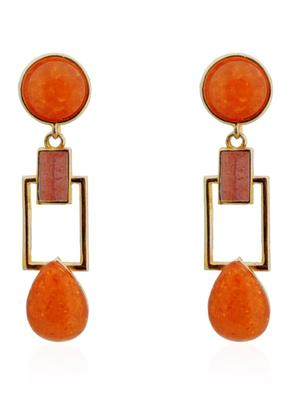 Tangerine Squarish Crown Earrings
