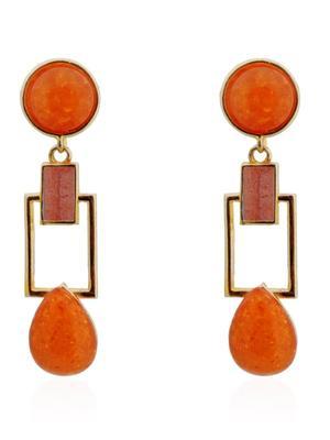 Tangerine Squarish Crown Earrings