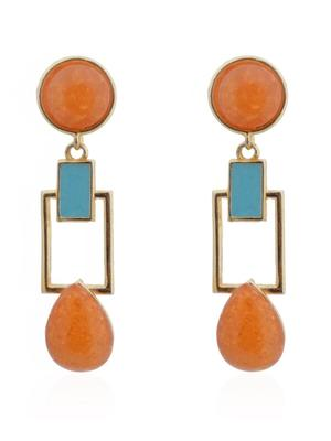 Hot Apricot Squarish Crown Earrings